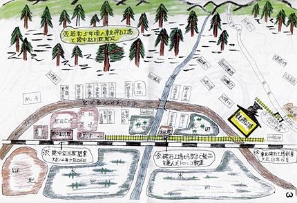 「昭和5年頃の東北砕石工場と陸中松川駅周辺」