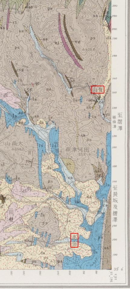 「水沢」表層地質図より