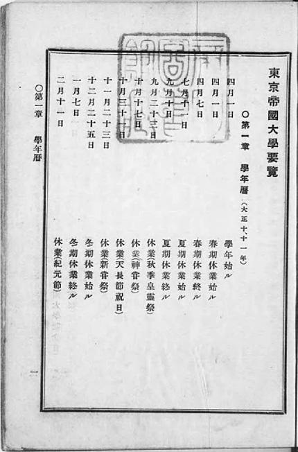 『東京帝国大学要覧 從大正十年 至大正十一年』