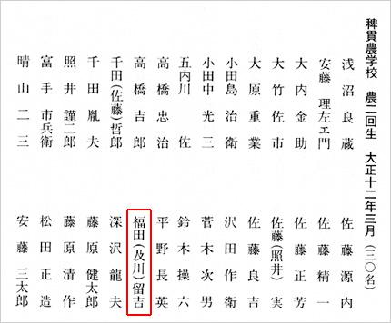 稗貫農学校大正12年卒業生名簿