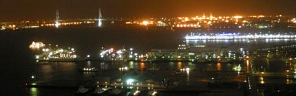 雨の横浜港