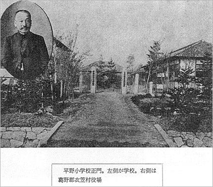 平野小学校と衣笠村役場