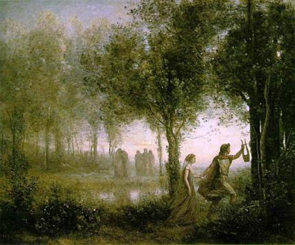 コロー『冥界からエウリディケを連れ出すオルフェウス』