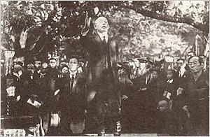 上野公園における国柱会の街頭演説(大正10年)