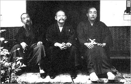 本多日生、田中智学、清水梁山(1910年京都にて)