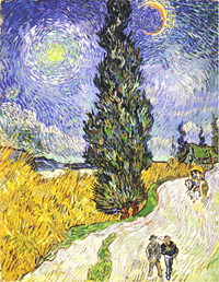 Gogh: Road with Man Walking, Carrige, Cypress, Star and Crescend Moon