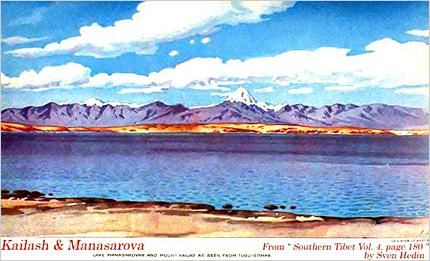 スヴェン・ヘディン画「カイラス山とマナサロワール湖」